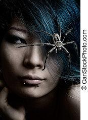 haar, porträt, modell, spinne