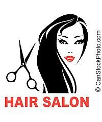 haar salon, vrouw, meldingsbord, gezicht