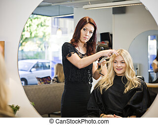 haar, situation, salon
