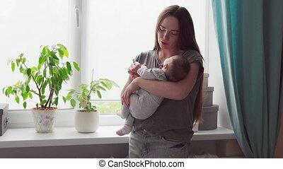 haar, slagen, kussen, zacht, moeder, baby, vrolijke