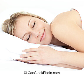 haar, stralend, slapende, bed, vrouw