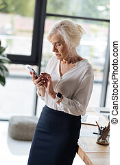 haar, succesvolle , businesswoman, telefoon, vasthouden, smart