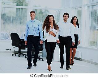 haar, team., gaan, voorkant, zakenman, vrolijke