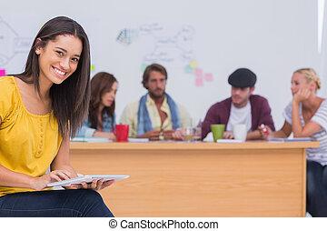 haar, team, werken, mooi, gebruik, tablet, redacteur, achter