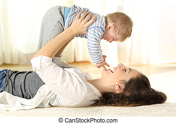 haar, vloer, zoon, moeder, baby, verheffing, vrolijke