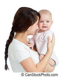 haar, vrijstaand, vasthouden, moeder, baby meisje, vrolijke