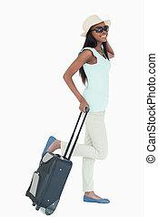 haar, vrolijke , koffer, vrouw, jonge