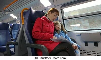 haar, vrouw, dochter, trein