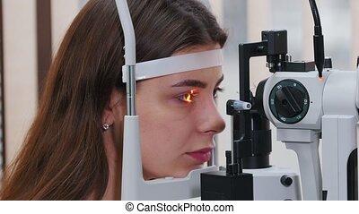 haar, vrouw, visueel, jonge, -, controleren, oogheelkunde,...