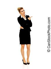 haar, wijzende, businesswoman, jonge, vinger, glimlachen