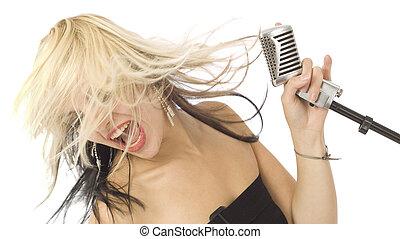 haar, wild, mikrophon, rockender , s�nger