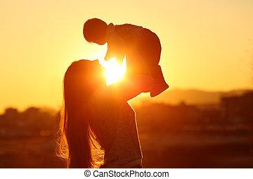 haar, zon, zoon, middelbare , ondergaande zon , moeder, verheffing, geitje