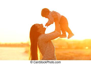 haar, zoon, ondergaande zon , moeder, verheffing, geitje
