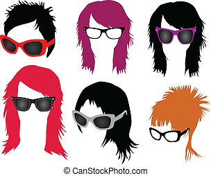 haarmanier, -, bril, vrouwen
