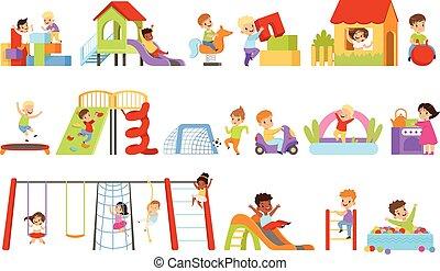 haben, knaben, weißes, schieben, spielplatz, kinder, rutsche, spaß, illustrationen, satz, hochklettern, spielende , hintergrund, spielzeuge, leiter, vektor, unten, mädels