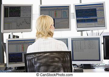 haben makler lager, anschauen, mehrfach, monitoren