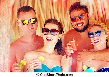 haben, tropische , friends, glücklich, party, spaß, feiertag, sandstrand, gruppe