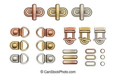 Haberdashery accessories. Metal twist locks for bags. Loops...