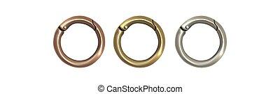Haberdashery accessories. Round metal snap hooks for women...