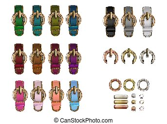 Haberdashery accessories. Set metal round buckles and...