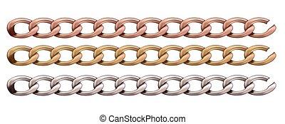 haberdashery, chain., セット, 金属, accessories.
