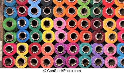haberdashery cotton spools many rainbow colors shop display