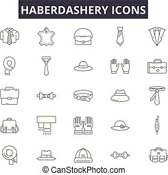 Haberdashery line icons for web and mobile design. Editable...