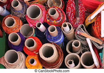 haberdashery shop choice of fabric material at fabric market...