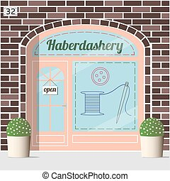 Haberdashery shop facade. Spool with threads, sewing button...