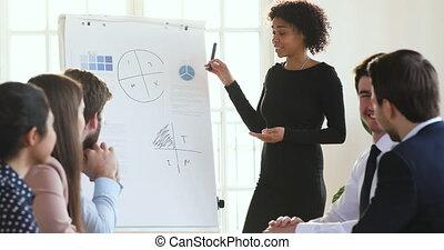 habile, collègues, biracial, présentateur, instruire, ...