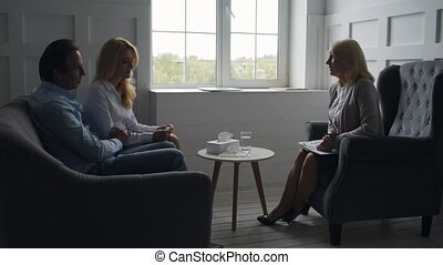 habile, donner, couple, consultation, psychologue