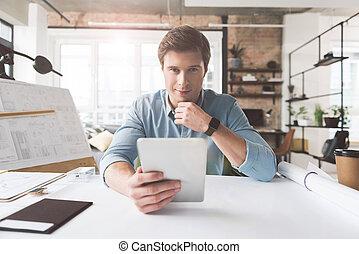 habile, positif, architecte, travailler, bureau