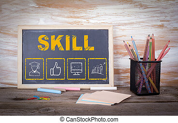 habilidad, empresa / negocio, concept., viejo, tabla de madera, con, textura