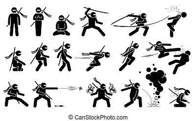 habilidades, arma, japonés, lucha, attack., espada, ninja, shuriken, asesino, movimiento