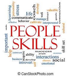 habilidades, concepto, palabra, nube, gente