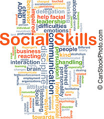 habilidades, concepto, plano de fondo, social