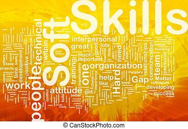 habilidades, concepto, suave, plano de fondo