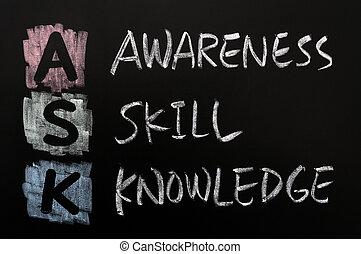 habilidades, conocimiento, conocimiento, siglas, -, pregunte