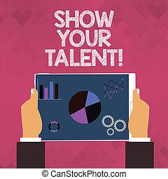 habilidades, conocimiento, exposición, habilidades, texto, actuación, talent., demonstratingal, foto, conceptual, demostrar, señal, su, aptitudes.