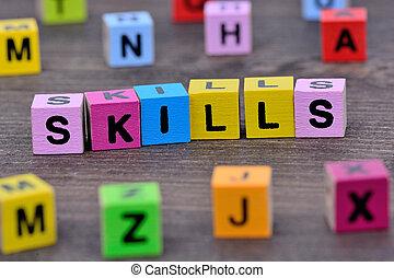 habilidades, tabela, palavra