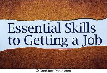 habilidades, trabajo, esencial, conseguir