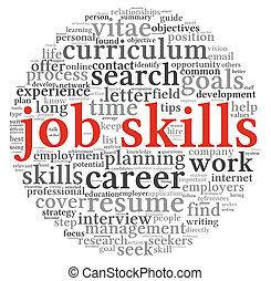 habilidades, trabajo, etiqueta, palabra, nube