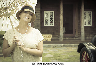 habillé, 1920s, vendange, portrait, girl, parasol, voiture