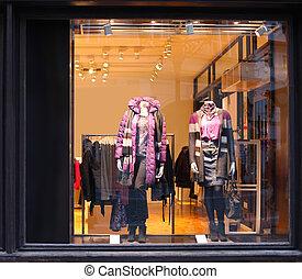 habillé, boutique, mannequins