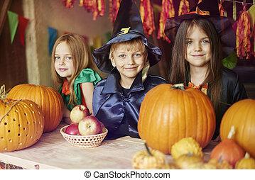 habillé, enfants, halloween, costumes, portrait