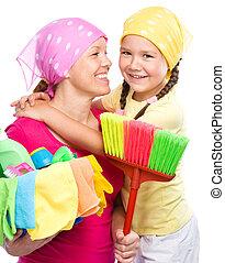 habillé, fille, nettoyage, elle, mère