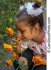 habillé, girl, déguisement, folklorique, ukrainien