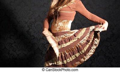 habillé, girl, jupe, papillotes, danse