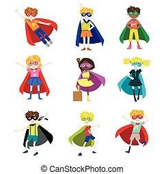 habillé, gosses, ensemble, superheroes