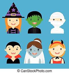 habillé, hallowe, avatar, enfants